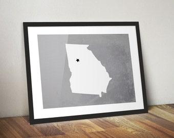Custom State Print, City and State Art Print, Custom Colors