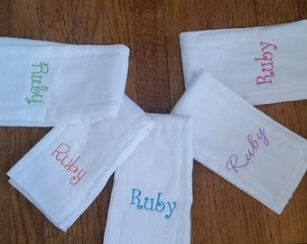 Simple monogrammed burp cloths
