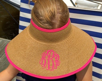 Straw Visor with Monogram  new colors: Navy and Black