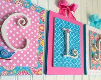 Nursery letters,Sam Pixie Nursery, Pink and Aqua Nursery, Baby Girl Wall Letters, Hanging Wood Letters, Personalized Letters, Custom Letters