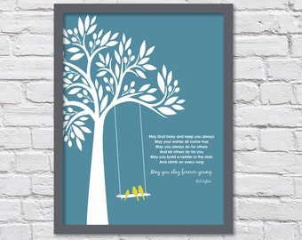 Bob Dylan Forever Young/Family Tree/Baby Gift/Graduation Gift/Three Birds -  8x10, 11x14, and 12x16