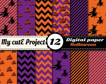 Halloween DIGITAL PAPER - 12X12 inches + A4 -  Pumpkin, witch, witches, chevron, stripes - Pumpkin digital paper - Witch digital paper