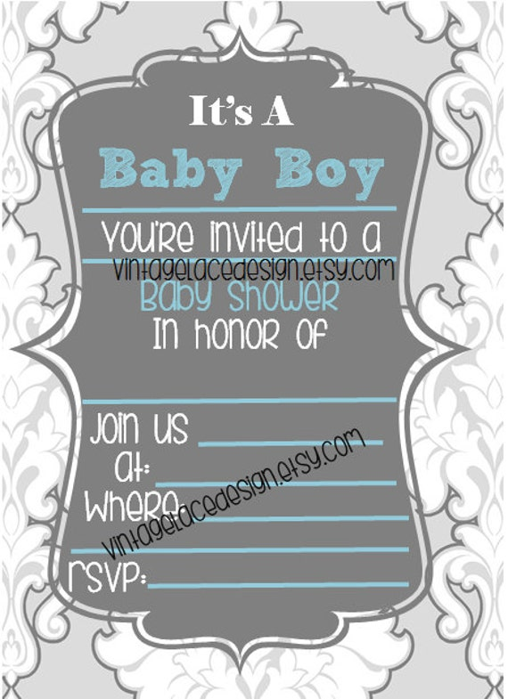 to blue baby boy baby shower invitation fill in the blanks baby shower