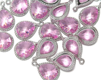 10% OFF (10 Pieces) . Pink Glass Pendant .  Wholesale Jewelry Supply . Polished Original Rhodium Plated over Brass - CG001-PR-PK