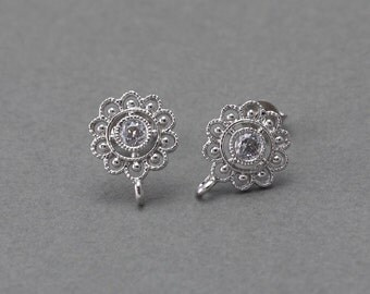 Flower Post Earring .Wedding, Bridal Jewelry, 925 Sterling Silver Post . Polished Original Rhodium Plated over Brass  / 2 Pcs - FC069-PR-CR