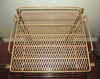 Hollywood Regency Gold Metal Shelf