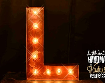 Marquee Letter, Lighted Metal MARQUEE SIGN Marquee Light, Marquee Letter, Vintage Style, Marquee Letter, Sign Letter Block Font