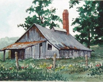 "Watercolor Limited ed. Print -  Sugar Shack - double matted to 8"" x 10"", art, painting, barns,"