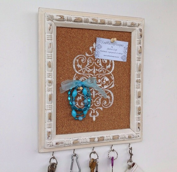 Shabby chic decor key holder framed cork by youmatterdesigns for Cork board with hooks