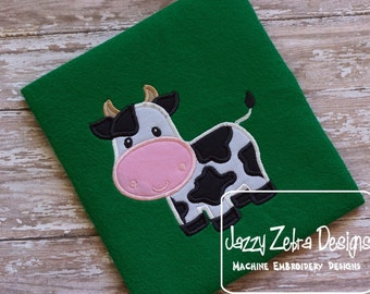Cow Applique Embroidery Design - farm appliqué design - cow appliqué design