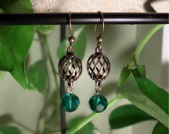 Copper Cage Dangle Earrings with Turquoise Bead