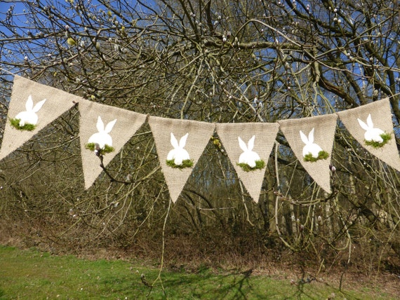 Easter burlap banner garland with easter bunny and flower teil and moss