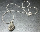 Wired caged herkimer diamond pendant encrusted with pyrite on 925 silver snake chain by Elemental Luxury