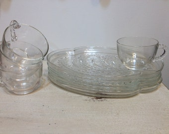 1950's Federal Glass Co. Hospitality Snack Set for Four, Vintage Glass Cup and Tray Set, Wedding, Bridal, Baby, Gift, Rockabilly 50's Gift