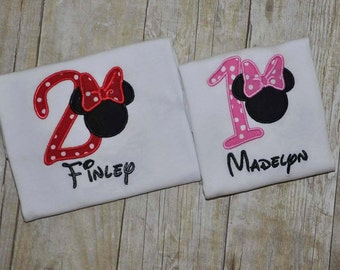 Personalized Mouse Birthday Shirt or Bodysuit
