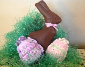 Fabric chocolate Easter bunny with eggs.  Shabby chic.  Country cottage.  Cottage chic. Bowl fillers
