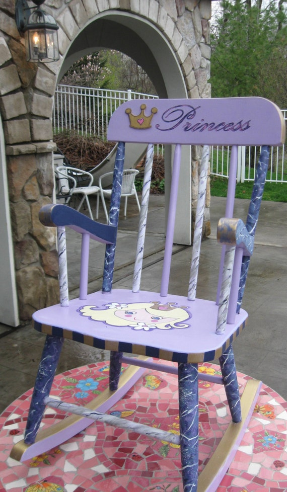 Girls hand painted princess rocking chair personalized for Monogrammed kids chair