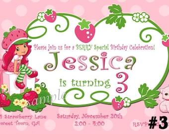 20 Strawberry Shortcake Invitations  PRINTED Invitations -  20 or More Birthday Party Invitations   chevron