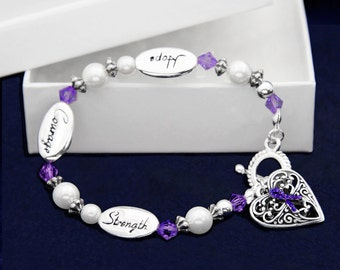 Purple Ribbon Bracelet - Hope Strength (RE-B-05-4)