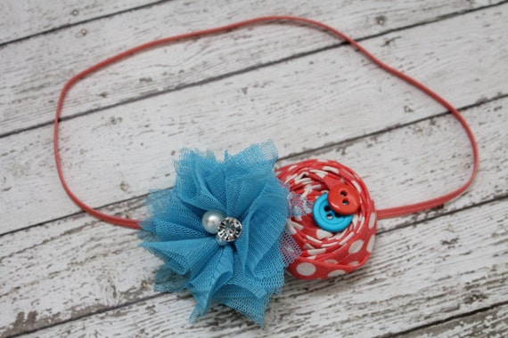 Under the Sea Turquoise and Coral Baby Headband by RuntCakes