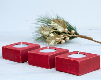 Red candle holder, wood, holiday decor, candle holders set of 3, 30% off