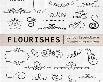 Hand Drawn flourishes clipart, Digital clipart  frames, ornaments and elements digital, Hand Drawn Vintage Style, instant download