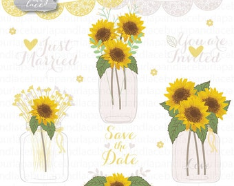 Sun flowers clipart, Wedding mason jar clipart, flower clipart, bridal clipart, yellow flower, summer, flower cliparts, rustic wedding