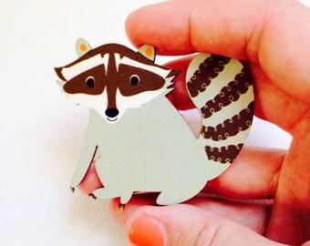 Wooden racoon brooch