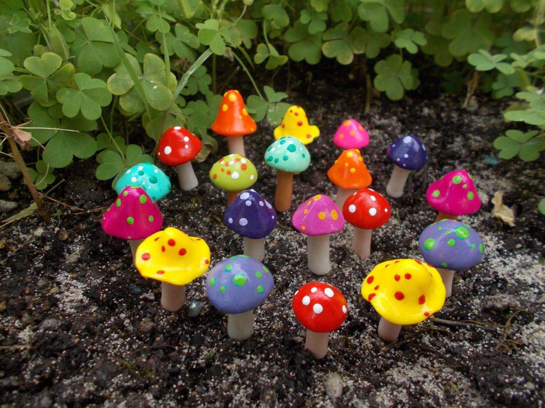 Colorful Fairy Garden Mushrooms Cake Topper Terrarium