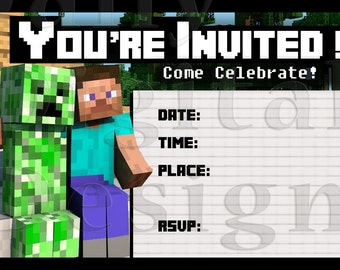 Popular items for minecraft invites on etsy for Www uprint com templates