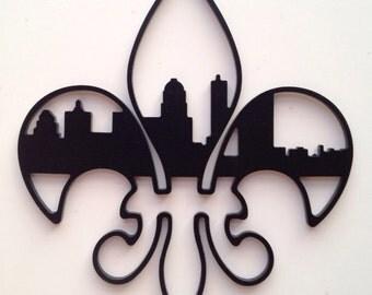 """4-1/2"""" Fleur-De-Lis Louisville Skyline Ornament"""