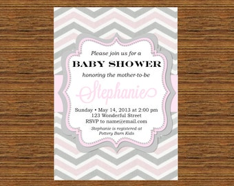 PRINTABLE Custom Invitation - Pink and Gray Chevron Bridal or Baby Shower Invitation