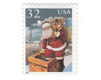 Qty of 10 - 1995 Unused Christmas Postage Stamp - Santa Claus - No. 3004
