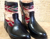 Handcrafted Moroccan White Kilim Boot in Black Leather - Size 38
