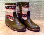 Handcrafted Moroccan White Kilim Boot in Green Leather - Size 37