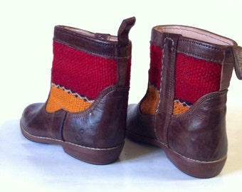 Handcrafted leather kilim booties