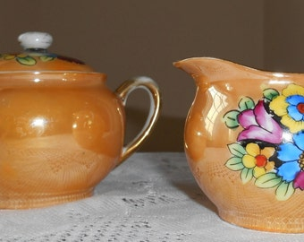 1920's Noritake Small Hand Painted Sugar Bowl and Creamer