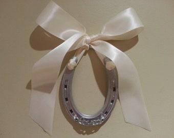 Wedding horseshoe silver pony horse shoe- ivory satin bow w Tag-horseshoe, decorated horseshoe, wedding horseshoe,Lucky Pony Shop,horse art
