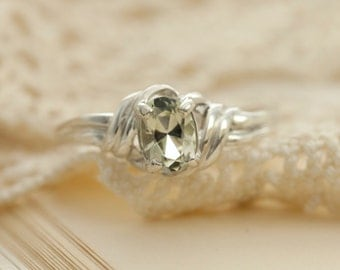 Clear Oregon Sunstone in Sterling Silver Ring, Style VP