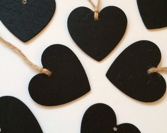 Wooden Chalkboard Heart Tag-Place Setting Tags, Gift Tags, Wedding Favor Tags