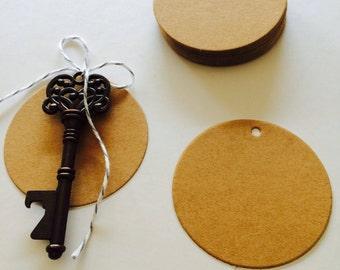 50 Circular Kraft Paper Tags// Luggage tag, paper tag, wedding favor tag, gift tag, merchandise tag