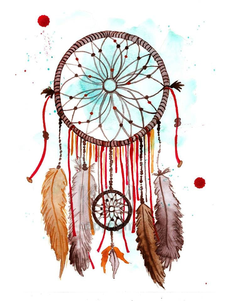 dream catcher 2 print of original watercolor by kelseymdesigns
