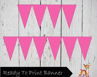 Instant Download Printable Solid Hot Pink Banner Flag pennant Bunting Sign