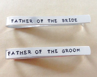 Hand Stamped Customized Aluminum TWO Tie Clip - Personalized with Wedding Date - Fathers Day Gift