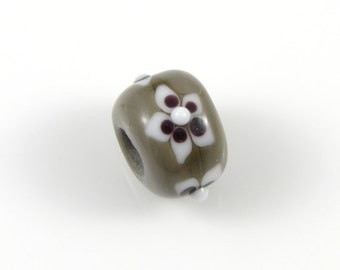 Gray, White and Black Glass Lampwork Bead - Handcrafted