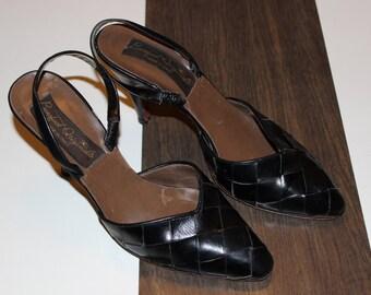 vintage barefoot originals leather woven slingback heel 7 1/2 N black basket weave heel