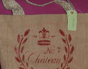 Burlap and French Stencil Tote Bag