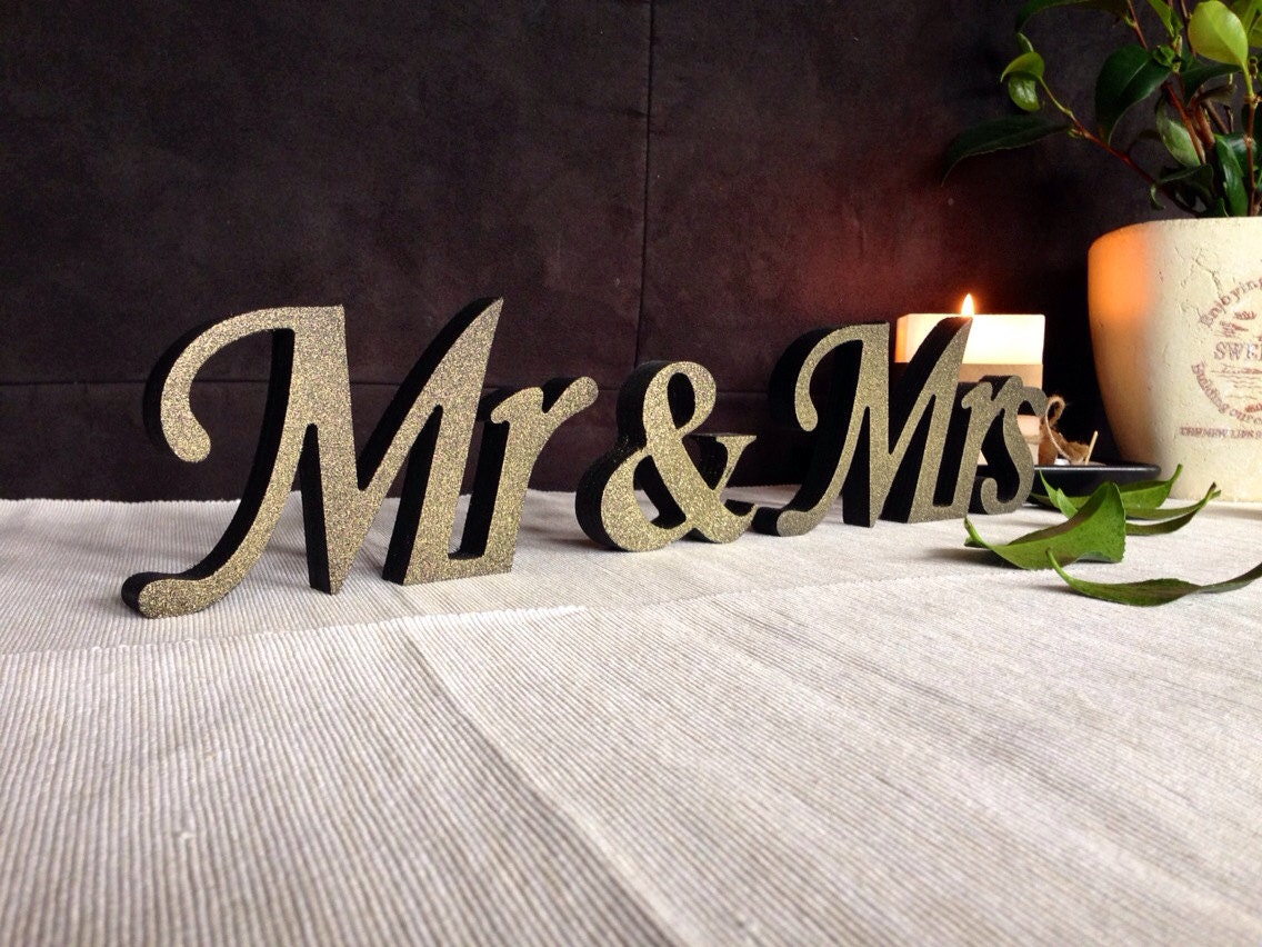 Mr And Mrs Wedding Signs Wooden Letters For Sweetheart Table