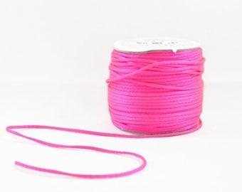 1mm NEON SATIN STRING - Neon Fluorescent Dark Pink Cord (1mm diameter) sold by 5m length