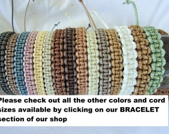 STACKABLE Knotted BRACELETS made with Glossy Braided Nylon Cord - Durable - Choice of Colors and Cord Size
